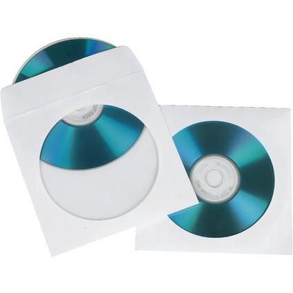 hama CD-/DVD-Papiertasche, für 1 CD/DVD, weiß