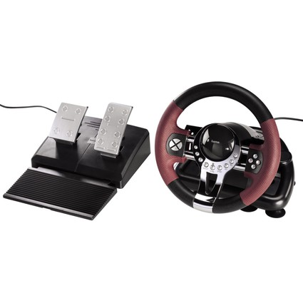 hama Lenkrad Racing Wheel Thunder V5 2in1, schwarz/dunkelrot