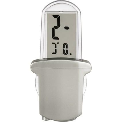 "hama LCD-Thermometer ""Window"", Außenthermometer, silber"