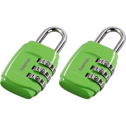 hama Zahlen-Gepäckschloss, 2er-Set, grün