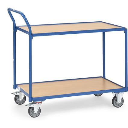 fetra Tischwagen, 2 Etagen, 300 kg, (B)850 x (T)500 mm, blau