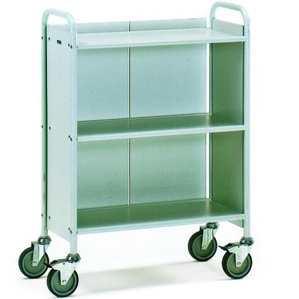 fetra Bürowagen, (B)810 x (T)385 mm, mit Rückwand, 2 Fächer