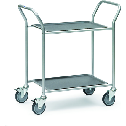 fetra Servierwagen, Stahlrohr, 2 Etagen, abnehmbare Tabletts