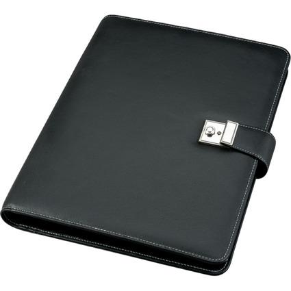 Alassio Dokumentenmappe, DIN A4, aus Nappa-Leder, schwarz