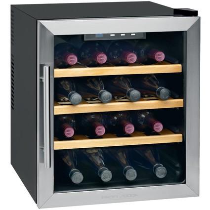 PROFI COOK Wein-Klimaschrank, 16 Flaschen, edelstahl/schwarz