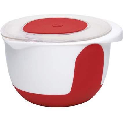 emsa Rührschüssel MIX & BAKE, mit Deckel, 3 Liter, rot/weiß