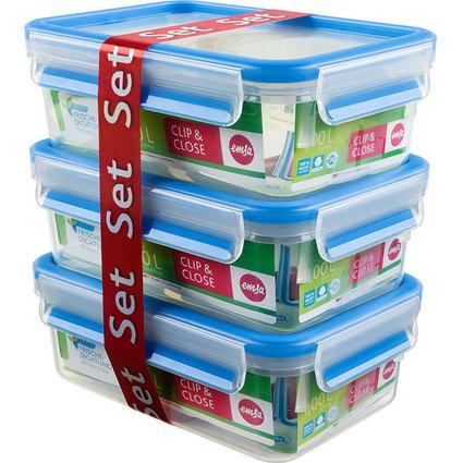 emsa Frischhaltedose CLIP & CLOSE, 3er Set, 1,0 Liter, blau