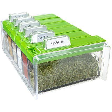 "emsa Gewürzregal ""SPICE BOX"", mit 6 Gewürzen, grün"