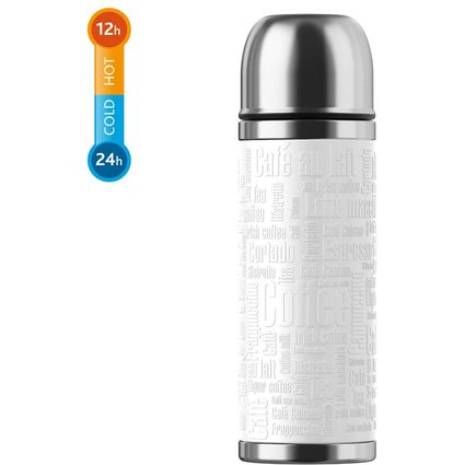 emsa Isolierflasche SENATOR, 0,50 Liter, Manschette weiß