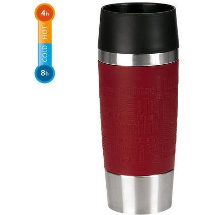 emsa Isolierbecher TRAVEL MUG, 0,36 L., Manschette rot