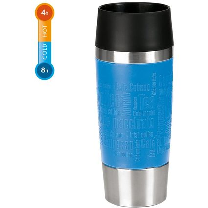 emsa Isolierbecher TRAVEL MUG, 0,36 L, Manschette wasserblau