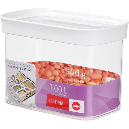 emsa Trockenvorratsdose OPTIMA, 1,0 Liter, trans / weiß
