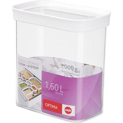 emsa Trockenvorratsdose OPTIMA, 1,6 Liter, trans / weiß