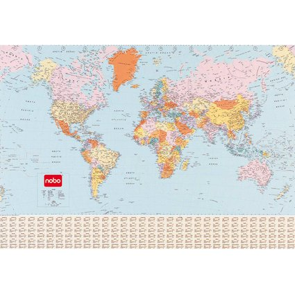nobo Weltkarte, laminiert, Kartengröße: (B)1.200 x (H)830 mm