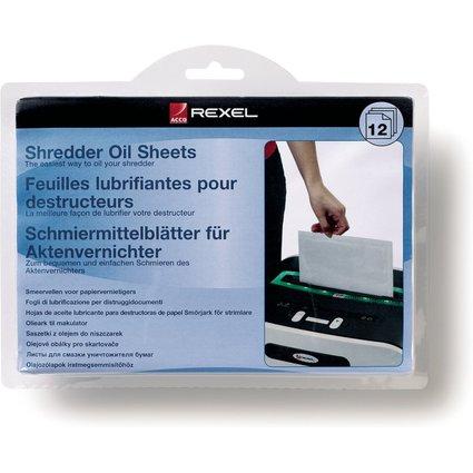 Rexel Schmiermittel-Blätter für Aktenvernichter, 12 Blatt