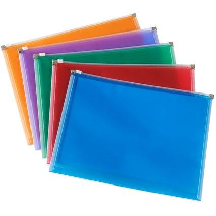 Rexel Reißverschlusstasche, DIN A4, farbig sortiert