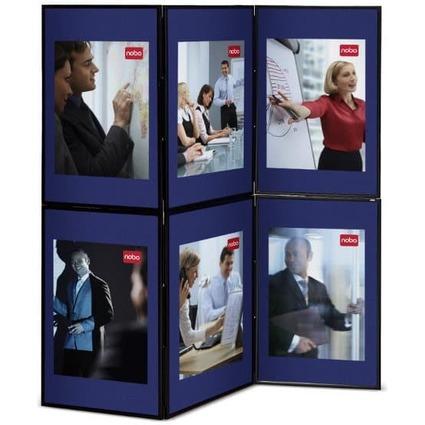 nobo Showboard, mit 6 Präsentationsflächen, blau/grau