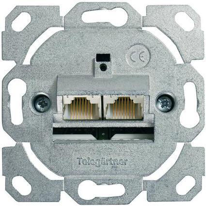 Telegärtner AMJ45 Anschlussdose Kat.6A (tief), ohne ZP, 2 x