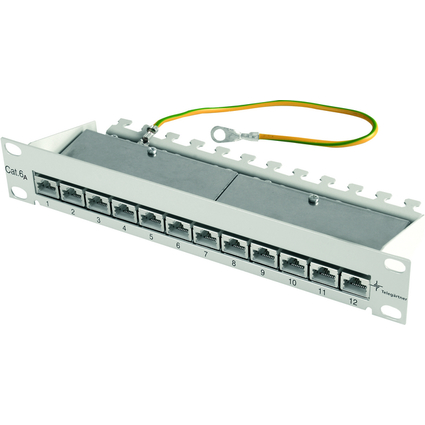 "Telegärtner 10"" Patch Panel, Kat.6A(tief) 1 HE, 12 x RJ45"