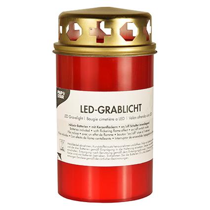 PAPSTAR LED-Grablicht, Höhe: 130 mm, rot