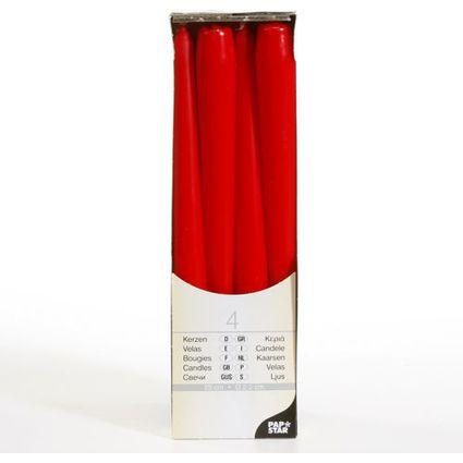 PAPSTAR Leuchterkerzen, 22 mm, rot, 4er Pack