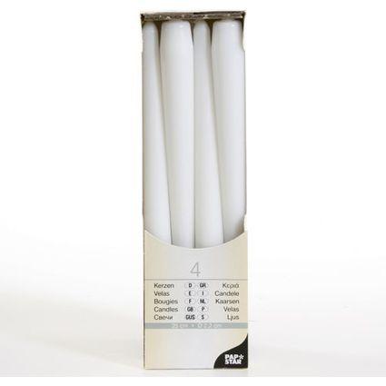 PAPSTAR Leuchterkerzen, 22 mm, weiß, 4er Pack