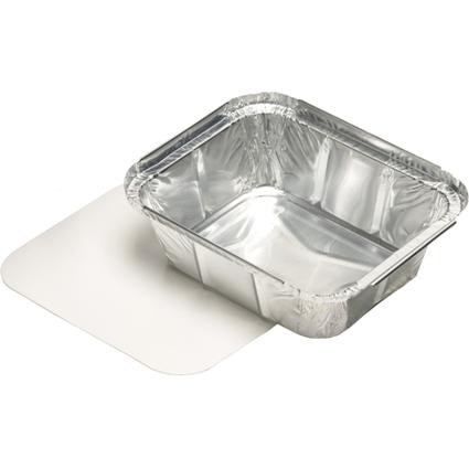 PAPSTAR Aluminium-Schale eckig, mit Deckel, 500 ml