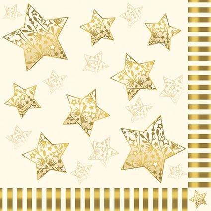 """PAPSTAR Weihnachts-Motivservietten """"Sparkling Stars"""", creme"""