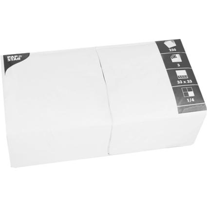 PAPSTAR Servietten, 330 x 330 mm, 3-lagig, weiß