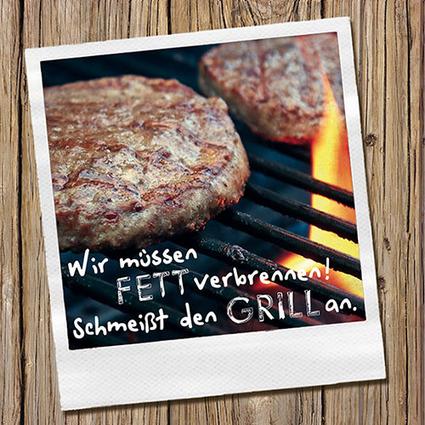 "PAPSTAR Sprüche-Servietten ""Schmeißt den Grill an"""