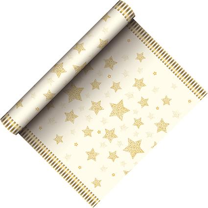 """PAPSTAR Weihnachts-Tischläufer """"Sparkling Stars"""", creme"""