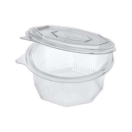 PAPSTAR Verpackungsbecher eckig, mit Klappdeckel, 250 ml