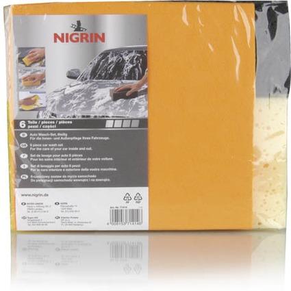 NIGRIN Auto Wasch-Set, 6-teilig, für Innen- und Außen