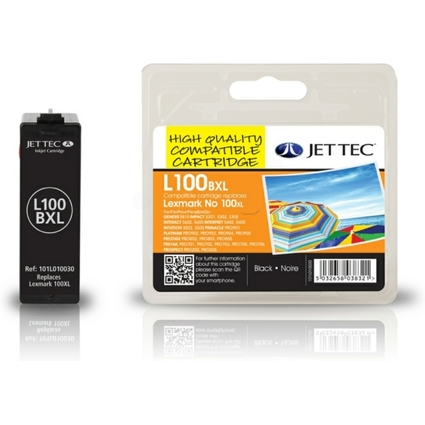 JET TEC wiederbefüllte Tinte L100BXL ersetzt LEXMARK 100 XL/