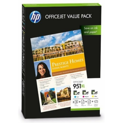 Original hp 951XL Officejet Value Pack, No. 951 XL + Papier