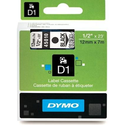 DYMO D1 Schriftbandkassette schwarz/transparent, 12 mm x 7 m
