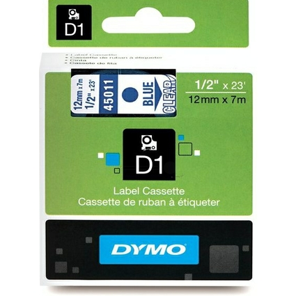 DYMO D1 Schriftbandkassette blau auf transparent 12 mm/7,0 m