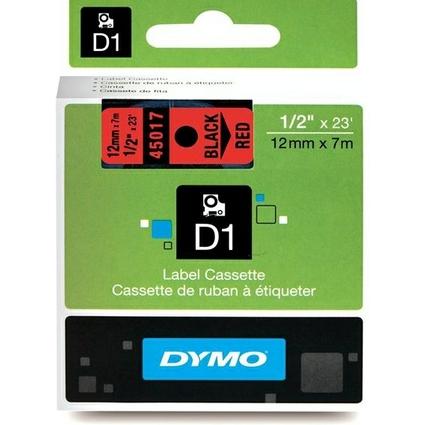DYMO D1 Schriftbandkassette schwarz auf rot  12 mm/7,0 m