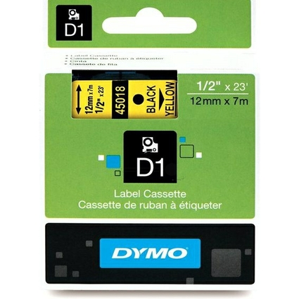 DYMO D1 Schriftbandkassette schwarz/gelb, 12 mm x 7 m
