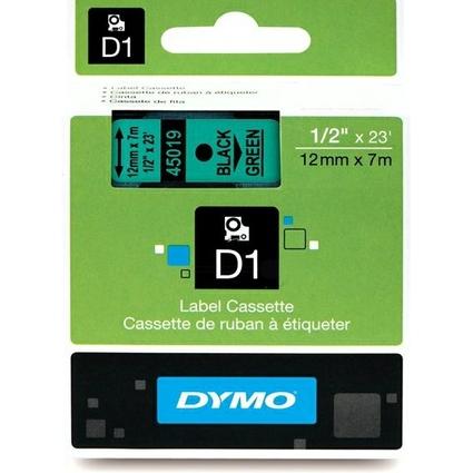 DYMO D1 Schriftbandkassette schwarz auf grün  12 mm/7,0 m