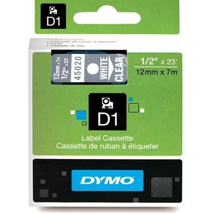 DYMO D1 Schriftbandkassette weiß auf transparent  12 mm/7m
