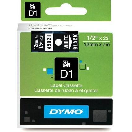 DYMO D1 Schriftbandkassette weiß/schwarz, 12 mm x 7 m