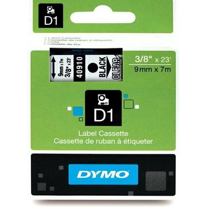 DYMO D1 Schriftbandkassette schwarz auf transparent, 9mm/7m