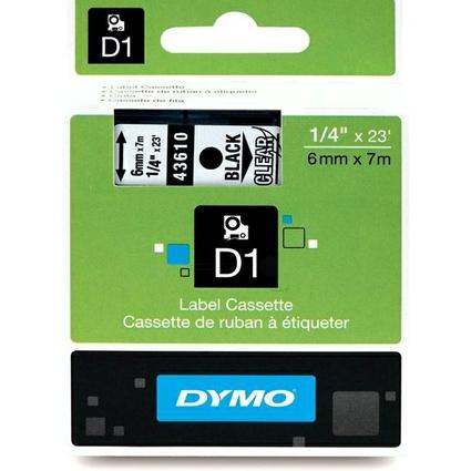 DYMO D1 Schriftbandkassette schwarz/transparent, 6 mm x 7 m