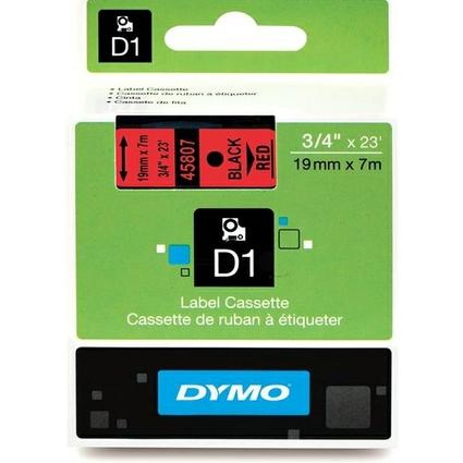 DYMO D1 Schriftbandkassette schwarz auf rot  19 mm/7,0 m