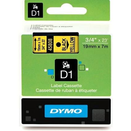 DYMO D1 Schriftbandkassette schwarz auf gelb  19 mm/7,0 m