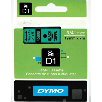 DYMO D1 Schriftbandkassette schwarz auf grün  19 mm/7,0 m