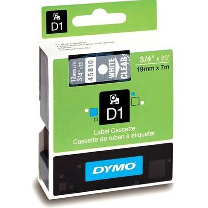 DYMO D1 Schriftbandkassette weiß auf transparent  19 mm/7 m