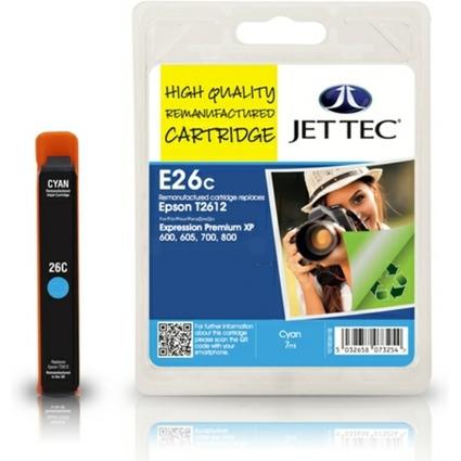 JET TEC wiederbefüllte Tinte E26C ersetzt EPSON T2612, cyan