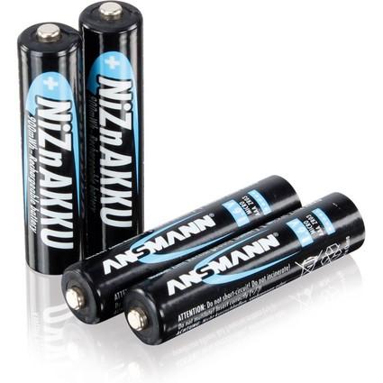 ANSMANN Nickel-Zink-Akku, Micro AAA, 550 mAh, 4er Shrink